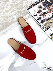 Мюли женские в стиле Gucci . 🔺Цвет:красный . 🔺Материал:натуральный замш .
