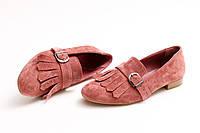 Туфли женские, персиковые (замша) Crozali
