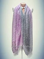 Лёгкий натуральный шарф Снеп, сиреневый с серым