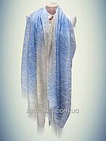 Лёгкий натуральный шарф Снеп, синий с бежевым