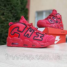 Чоловічі кросівки в стилі NIKE Air More Uptempo червоні
