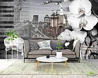 Фотообои Орхидея на фоне города