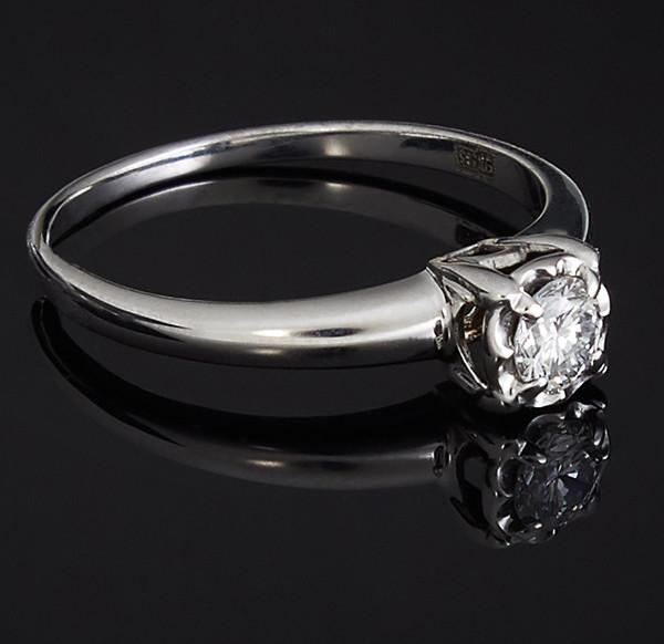 Жіноче кільце з білого золота з діамантами С40Л1№21