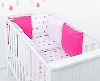"""Комплект постельных принадлежностей в кроватку (9 предм.) """"Золушка"""" (белый/розовый/малиновый), фото 1"""