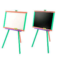 Детский двухсторонний мольберт для рисования цветной Мася 130 MC (ТВ) мелки и губка в наборе