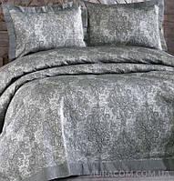 Серое, жаккардовое покрывало  с наволочками,  ISSI home, Dark smooke colour, Турция