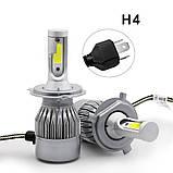 Комплект LED ламп для авто Ближний/Дальний Headlight С6 H4, светодиодные лампы в авто, передний свет, фото 2