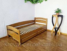 """Односпальне кутова ліжко з ящиками з масиву дерева """"Березня"""" (світлий дуб) від виробника"""