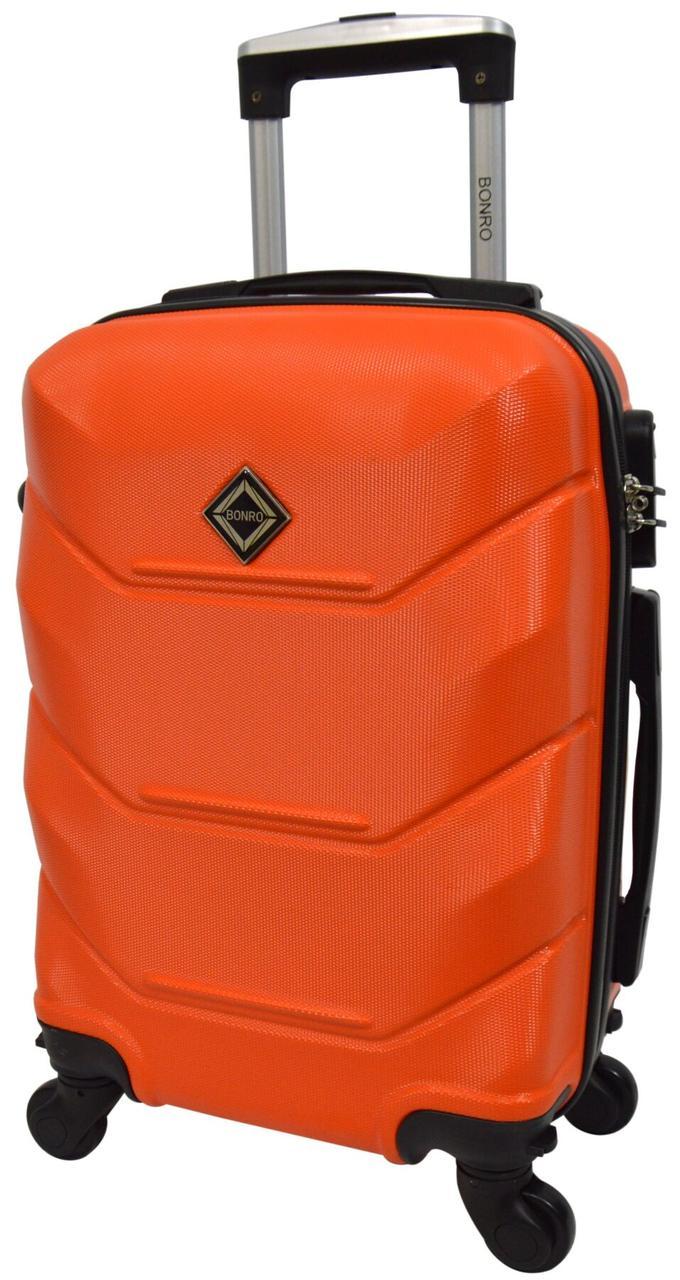 Чемодан ручная кладь пластиковый (мини) 4 сьемные колеса на подшипниках оранжевый