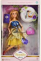 Кукла шарнирная с аксессуарами.Игровой набор для куклы.Кукла тип Барби. Сине-желтый