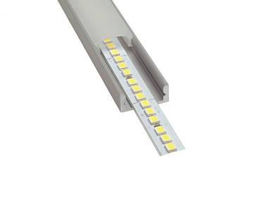 Профиль оптом для светодиодной ленты накладной 7х16 мм. ЛП7. Матовый. Неанодированный. отп