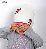 007 Двойная детская шапка, хлопок. р.48-52 (2-5 лет)св.коралл, белый