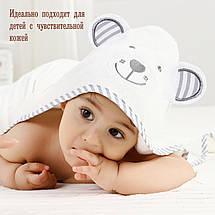 Премиальное Детское Банное Полотенце с Капюшоном - Бамбуковое Полотенце Уголок - Серый Медведь- Бонус: Мочалка, фото 2