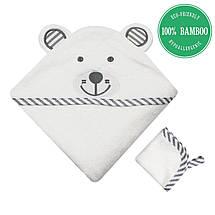 Премиальное Детское Банное Полотенце с Капюшоном - Бамбуковое Полотенце Уголок - Серый Медведь- Бонус: Мочалка, фото 3