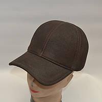 Коричневая мужская кепка из натуральной кожи