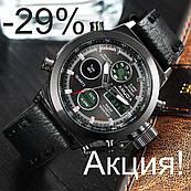 Мужские наручные часы AMST Watch - Черные + Кошелек Baellerry Business, Italia черный на кнопке