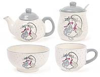 Набор керамической посуды Влюбленные коты, 4 предмета: чайник заварочный, чашка, пиала, сахарница