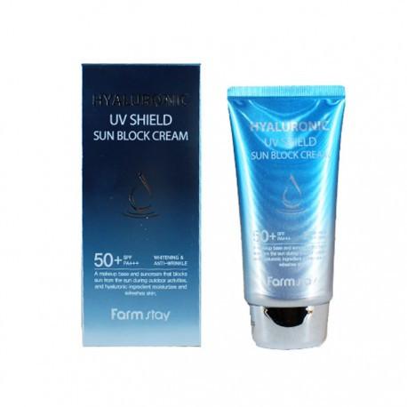 Солнцезащитный крем с гиалуроновой кислотой FarmStay Hyaluronic Uv Shield Sun Block Cream SPF50+ PA+++ 70 г