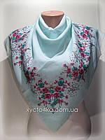 Лёгкий платок на натуральной основе Флора 80см, мятный