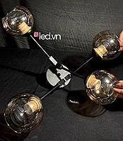Стельова люстра чорна в стилі лофт на 4 напівкулі, фото 1