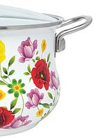 Эмалированная кастрюля с крышкой Benson BN-116 белая с цветочным декором (1,9 л) / кухонная посуда / кастрюли