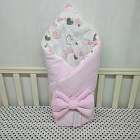 """Демисизонный конверт-плед на выписку""""Миля""""с плюшем сердечки розовый"""