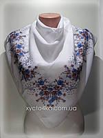 Лёгкий платок на натуральной основе Флора 80см, белый с синим