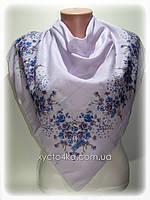 Лёгкий платок на натуральной основе Флора 80см,сиреневый с синим