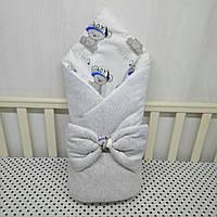 """Демисизонный конверт-плед на выписку""""Миля""""с плюшем серый мишки"""
