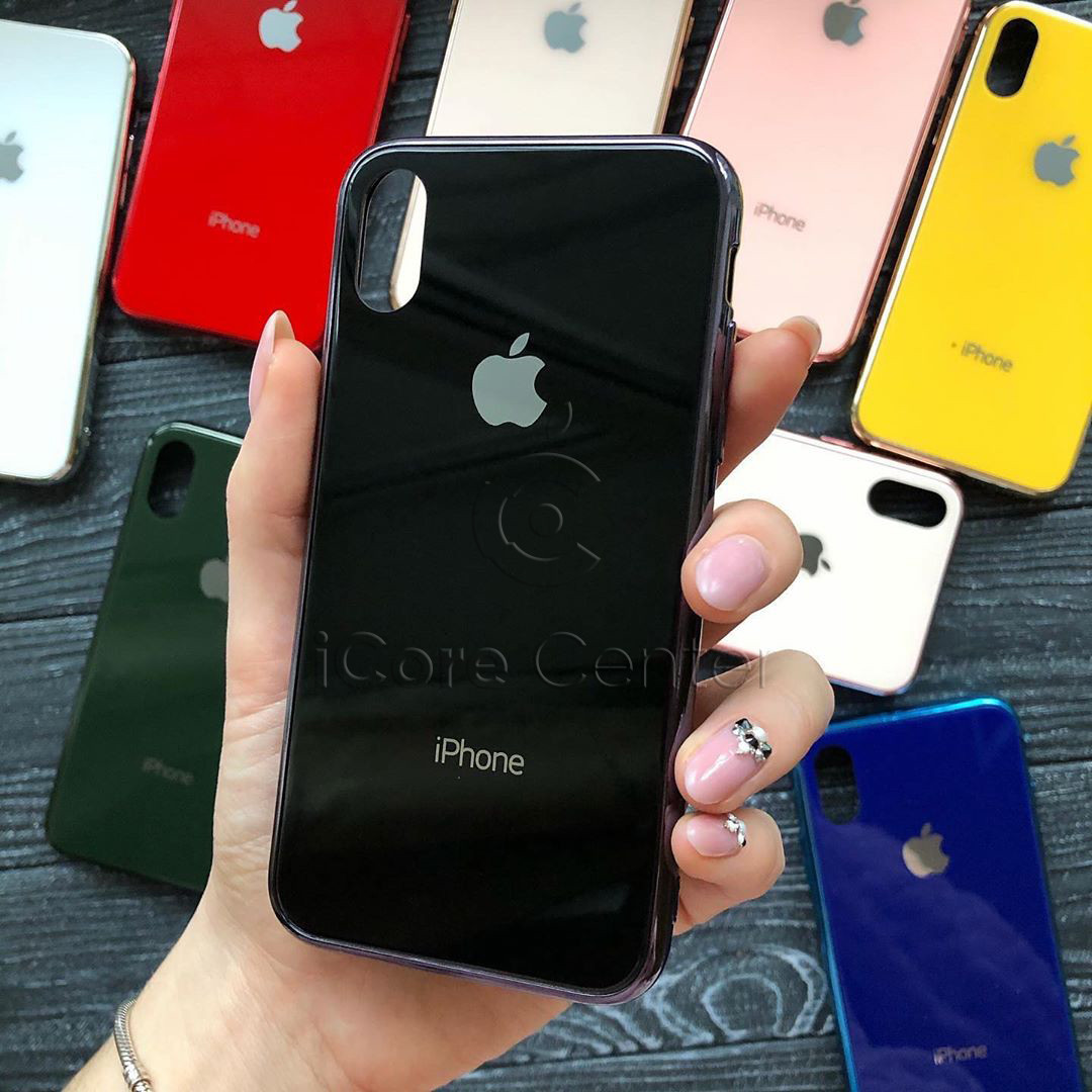 Чохол для iPhone X / XS Glass Case Logo Чорний