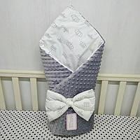 """Демисизонный конверт-плед на выписку""""Миля""""с плюшем серый короны"""