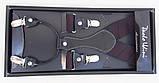 Чорні підтяжки Paolo Udini з бордовим візерунком, фото 2