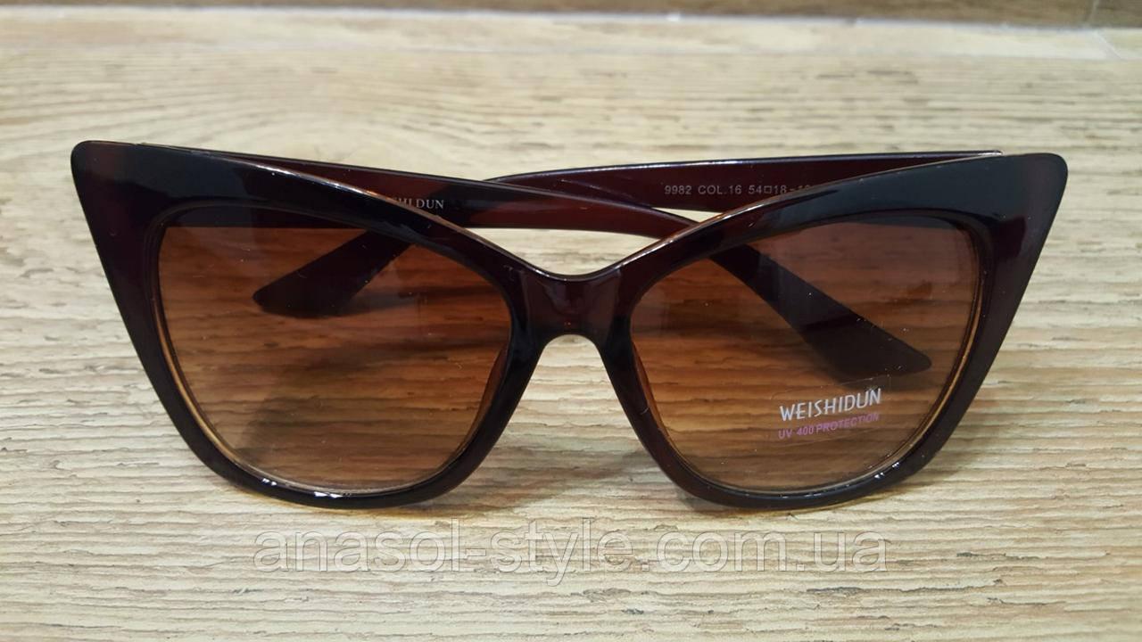 """Женские классические очки """"кошачий глаз"""" коричневые"""