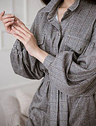 Клетчатое платье с поясом