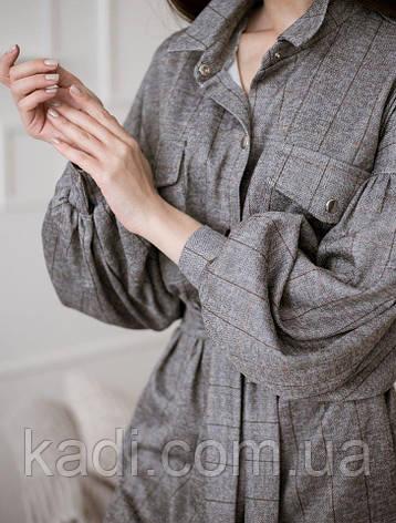 Клетчатое платье с поясом, фото 2