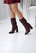 Элегантные марсаловые сапожки на каблуке, фото 3