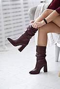 Элегантные марсаловые сапожки на каблуке, фото 4