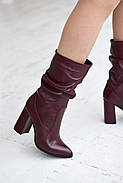 Элегантные марсаловые сапожки на каблуке, фото 8