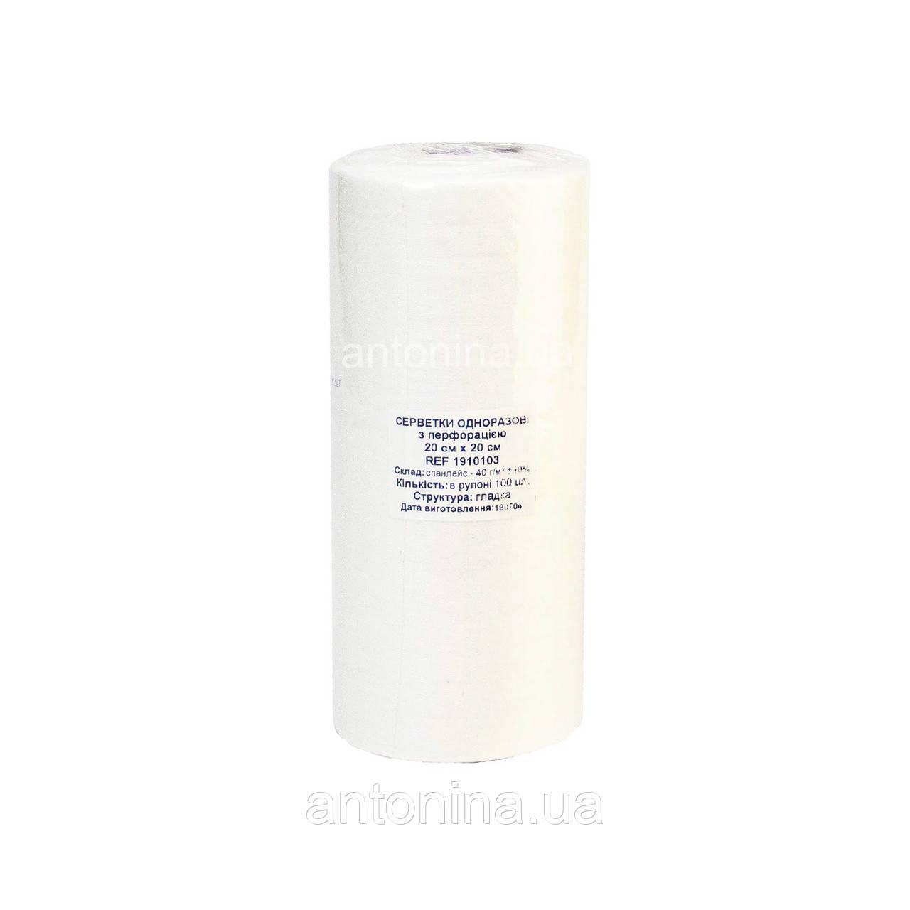 Салфетка 20х20 см (100 шт/рул), спанлейс-гладкий рулон с перфорацией