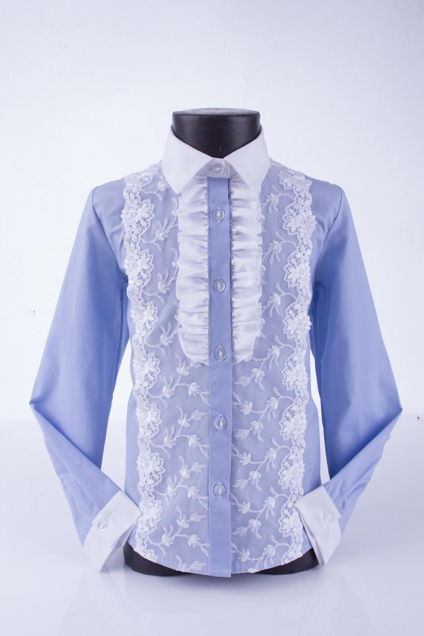 Блузка рубашка нарядная голубая Свит блуз мод.5076 р.134