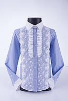 Блузка рубашка нарядная голубая Свит блуз мод.5076 р.134, фото 1