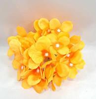 """Гортензия""""люкс"""" -искусственный цветок декор(головка),цвет желто оранжевый d-15см, фото 1"""