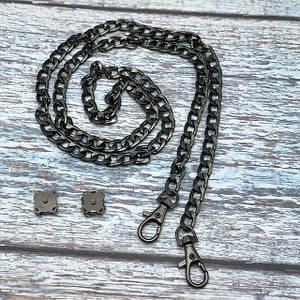 Комплект сумочной фурнитуры в цвете Черное серебро: цепочка с карабинами и магнитные кнопки
