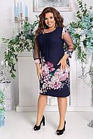 Женское красивое платье с принтом и рукавами из сетки батал