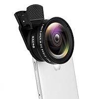 Набор объективов для телефона 2в1 макро линза, рыбий глаз. Набір об'єктивів для смартфона NH05V