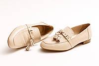 Туфли женские, бежевые из натуральной кожи Crozali