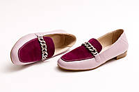 Туфли женские, розовые из натуральной кожи Crozali