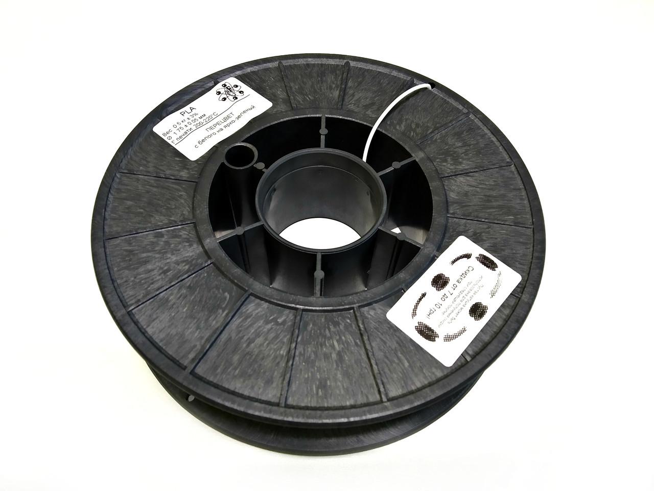 ПЕРЕЦВЕТ c Белого на Ярко зеленый PLA (1.75 мм/0.5 кг)