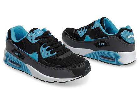 Женские кроссовки черно-голубого цвета! Мега удобные!