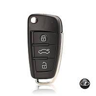 Корпус выкидного ключа Lada ВАЗ с заготовкой (3 кнопки(Стиль Ауди)+Логотип Lada)